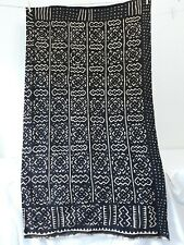 Black / Deep Brown Geo African Mud Cloth Panel Runner Wall Hanging Fabric 34x59