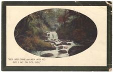 Men May Come & Go But I Go On Forever - Cascading Stream - Vintage 1910 Postcard