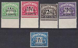BOIC: BMA Eritrea 1948 SG ED1 - 5 Sc J1 - J5, Postage Due, MNH