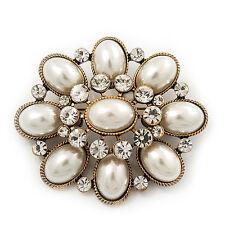 Vintage Faux Pearl Diamante Brooch In Antique Gold Metal - 5.5cm Length