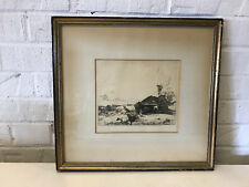 Antique 1924 John Winkler Signed Etching Print of Farm Le Tryer Normandie