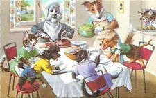 Mainzer Hartung  Postcard 4924; Dressed Dog & Cat Family Fight over Dinner Table