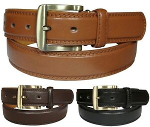 Mens Leather Belt 1.25 Inch Casual Fashion Trouser Belts in Black, Brown, Tan