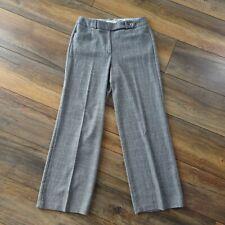 Per Una M&S Size 14 Grey Brown Check Wide Leg Trousers Palazzo Pants Wool Blend