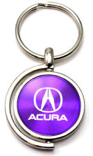 Purple Acura Logo Brushed Metal Round Spinner Chrome Car Keychain Spin Ring