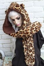 LEOPARD PRINT FURRY BEAR EAR SNOOD HOOD SCARF HAT LOLITA GOTH  INDIE KAWAII