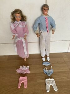 Vintage 1984 Mattel 'The Heart Family' Mum + Dad Dolls