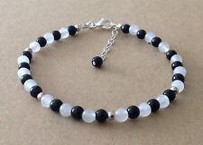 Monochrome BLACK ONYX+WHITE JADE, Sterling Silver, Beaded Friendship Bracelet