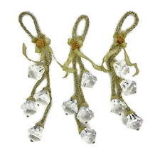Christmas Ornaments Clear Acrylic Faceted Stones Gold Silver Braid Set of 3
