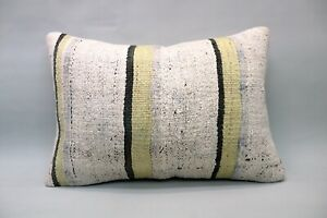"Hemp Lumbar Pillow, 16""x24"", Ethnic Decorative Pillow, Handmade Vintage Pillow"