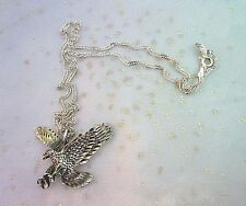 "Diamond Cut Detailed Sterling Silver American Eagle Necklace 19"" Sterling Chain"