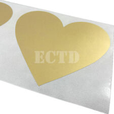 10 Scratch Off label Sticker 70mmx80mm Gold Color Love Heart Shape