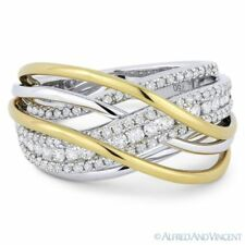 0.86ct Round Cut Diamond 18k Yellow & White Gold Right-Hand Overlap Fashion Ring