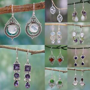 Women 925 Silver Retro Moonstone Earrings Handmade Jewelry Boho Ear Dangle Gifts