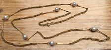 Vintage Gold Tone Chain & Faux Pearl Bead  Style Necklace/Retro/1980's