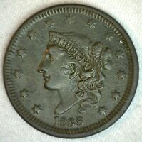 1838 Coronet Head US Large Cent Copper Coin XF Extra Fine Dark 1c US Penny Coin
