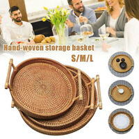 Rattan Storage Tray Round Basket with Handle Woven Rattan Tray Wicker Basket Bre