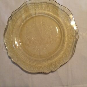 Yellow amber depression glass dinner plate