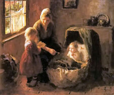 Oil painting Evert Pieters - babys mealtime woman children hand painted in oil