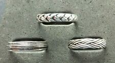 *Strong/Sturdy* weave, plait, stripe 925 silver Solid Silver Toe Ring, 3 designs