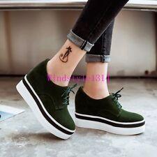 Womens Fashion Round Toe Platform Shoes Hidden Heel Pumps New Size Fashion Chic