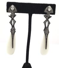 Gunmetal Silver 925 Floating Cabochon White Onyx CZ Edgy Spike Dangle Earrings