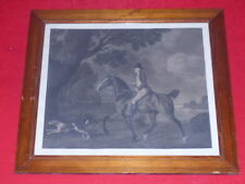 [CAVALIER CHEVAUX] GRANDE GRAVURE ANCIENNE ANGLAISE CADRE PIN 64x56 Chasse chien