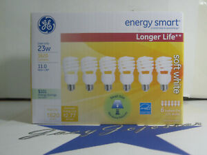 GE Soft White Mini Spiral CFL Replacement Lamp 23 W 1620 Lumen Lightbulb 6 bulbs