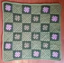 """New listing Throw for Pet, Dog or Baby Blanket Bed Hand Crocheted Granny Square New! 30""""X30"""""""