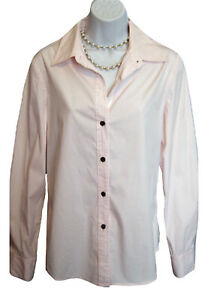 THEORY PINK Shirt Size L Large Stretch Blouse Modern Long Top Career L/S Trendy