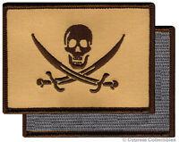 PIRATE FLAG PATCH JOLLY ROGER Skull Tan Calico Jack w/ VELCRO® Brand Fastener