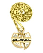 """NEW ICED OUT GOLD WU TANG PENDANT 6mm/30"""" CUBAN CHAIN NECKLACE CP193G"""