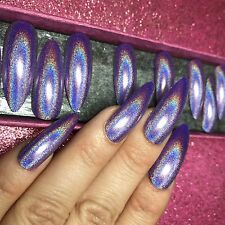 Hand Painted Full Cover False Nails. Long Stiletto Purple Holographic Nails.