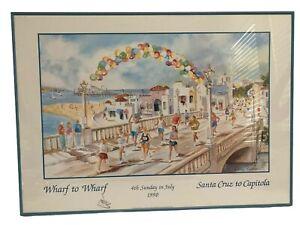 Sally Bookman Water Color Art Wharf To Wharf Run Santa Cruz To Capitola 1990