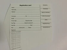 Hotel Guest Registration Cards (Pack of 100 Cards)