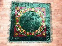 Vintage Green Wedding Velvet Bedspread Fringed tablecloth Bohemian Italian Boho
