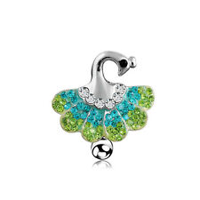 Peacock Reverse Rhinestone Surgical Steel Dancing Belly Button Bar Ring Navel
