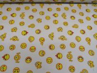 Children's Emoji Linen Cotton Fabric Curtain Upholstery Craft Emoticons Smiley