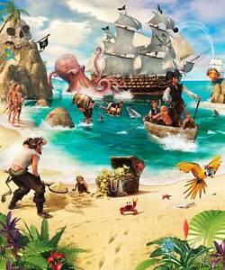 Fototapete Kinderzimmer Wandbild Piraten Karte Wandtapete 3D Optik Tapete Kinder