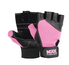 NWT MRX Fitness Gear Mens Leather Pink Workout Weight Lifting Gym Gloves Sz XS