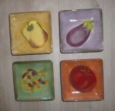 """Set of 4 Clay Art Painted Vegetable Theme Serving Dishes  Appetizer Plates 6"""""""