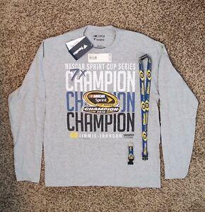 NASCAR Jimmie Johnson 7X Champion Long Sleeve Tee Men's Lrg New W/ Bonus Lanyard