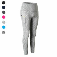 Women's High Waist Running Workout Leggings Yoga with Pockets Tummy Control Fit