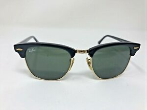 Ray-Ban RB 3016 Clubmaster W0365 Black Gold Frame Green Glass 49mm ND30