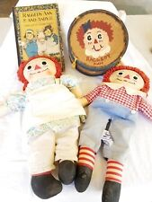 Antique Raggedy Ann Camel Wrinkled Knees 1st ed., Drum, Dolls
