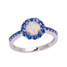 Zirconia 925 Sterling Silver Opal Halo Ring Cubic