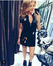 Zara Noir Patch Brodé Robe Taille S Bnwt