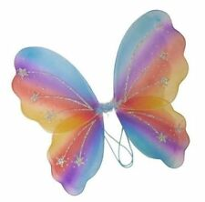 Rainbow Fairy Wings Girls Ladies Butterfly Fancy Dress Dressing Up with wand