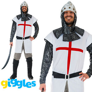 Mens Knight Costume St George Crusader Medieval Warrior Adult Fancy Dress Outfit