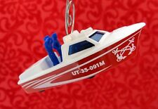 Matchbox Custom Christmas Ornament 1/64 Scale Police Launch Boat Fire Rescue